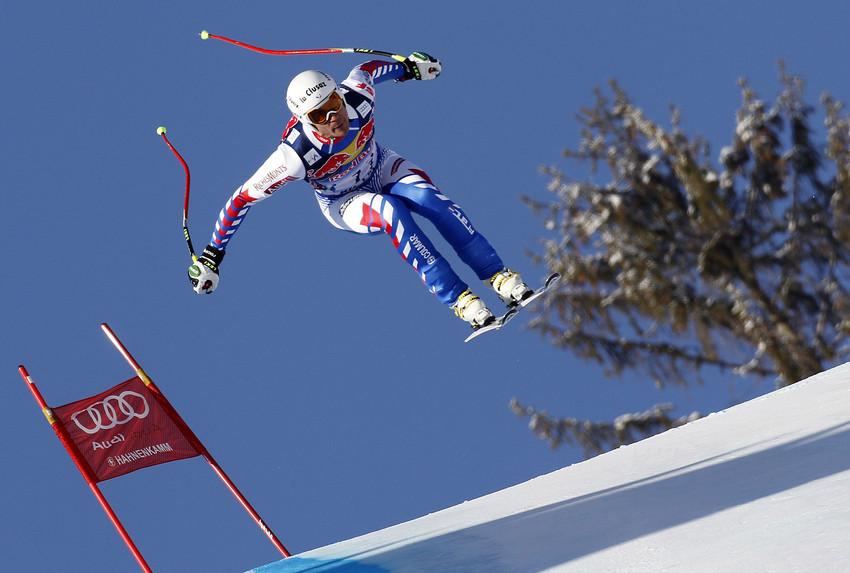 Johan Clarey schied mit Zwischenbestzeit in der Kitzbühel-Abfahrt aus - © Agence Zoom / Alexis Boichard