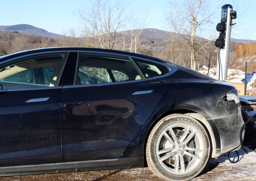 An electric vehicle charging at one of Windham's new charging stations. Photo Courtesy of Windham Mountain.