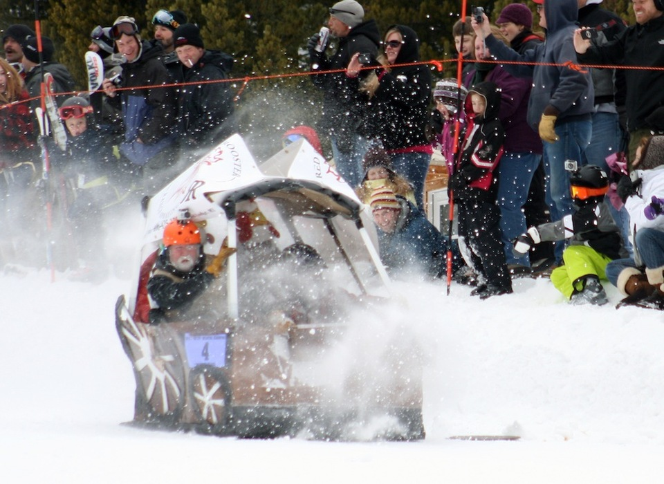 Red Lodge Mountain Winter Carnival features a Cardboard Classic Race. Photo courtesy of Red Lodge Mountain.