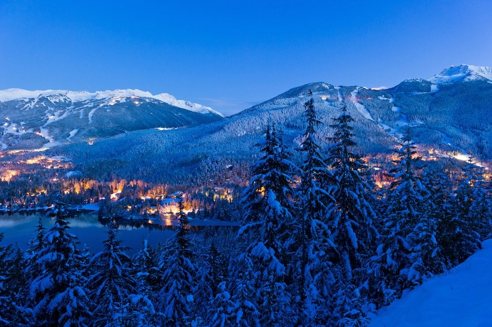 Whistler Blackcomb night view of mountains and valley. - © Mike Crane/Whistler Tourism