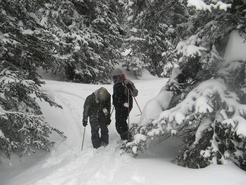 A pair of skiers at Grand Targhee, Wyoming in March 2008.
