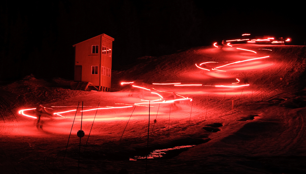 Torchlight parade at Mt. Hood Skibowl. Photo by John Hann/