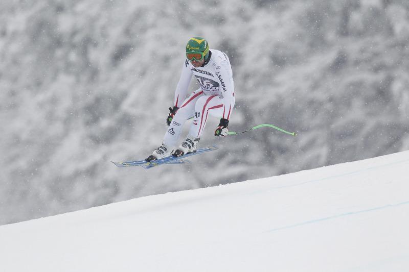 Klaus Kröll raste aufs Podium und bleibt im Rennen um die Kristallkugel - © Alexis Boichard/AGENCE ZOOM