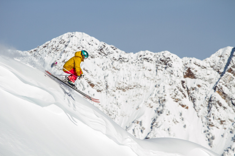 Caroline Gleich takes a lap at Snowbird while testing powder skis. - © Liam Doran