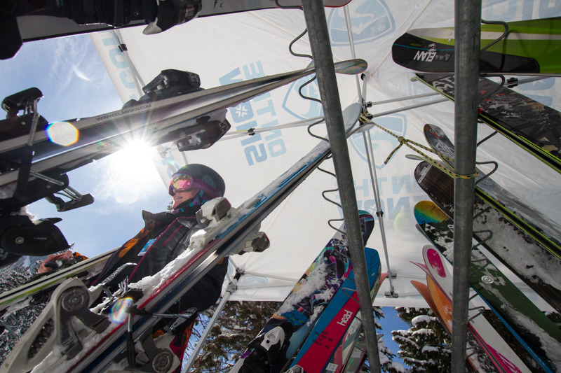 Over 30 powder skis were ready for testers throughout the day. - ©Liam Doran