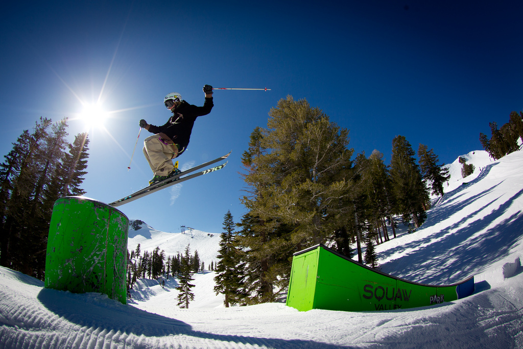 """Raleigh White nose-tapping a """"bonk"""" feature in one of Squaw's four terrain parks.  - © Jeff Engerbretson & Squaw Valley"""
