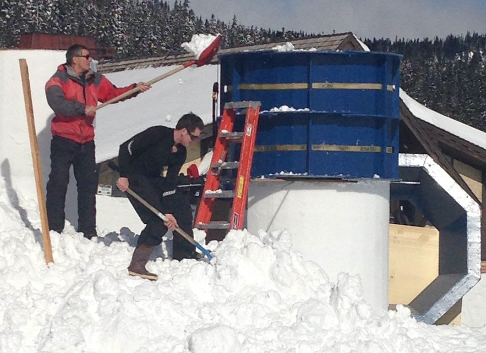 Building the giant Winter Carnival snow castle at White Pass. Photo courtesy of White Pass Ski Areas.