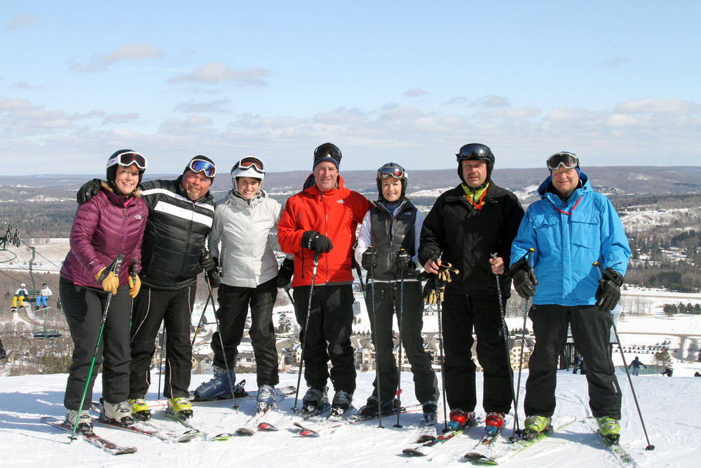 A group gathers at the top of Boyne Mountain Resort in Boyne Falls, Michigan. - © Courtesy of Boyne Mountain Resort
