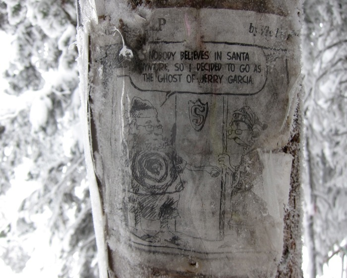 Funny clippings at the Jerry Garcia Shrine located on Aspen Mountain. - © Amanda Rae