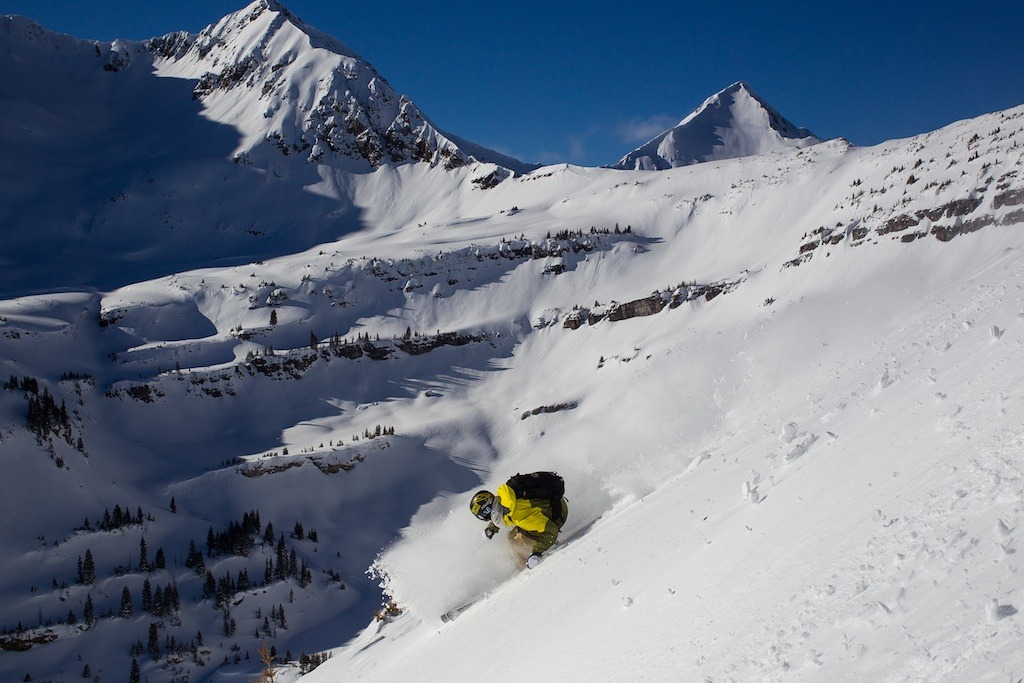 Aidan Sheahan skis some powder with Irwin Cat Skiing at Eleven Colorado. - © Jeff Cricco