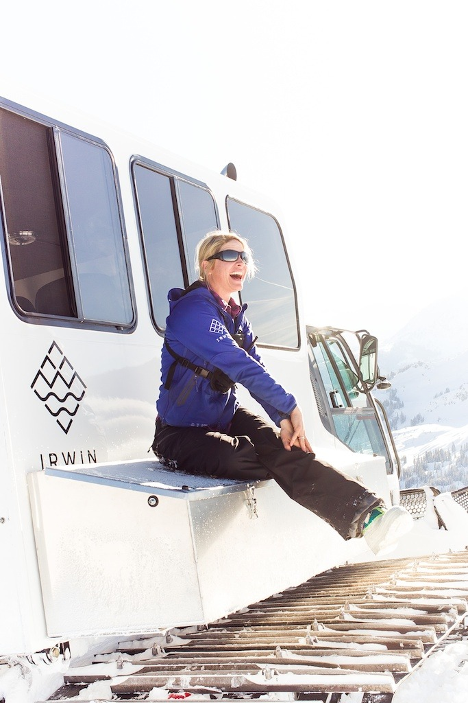 Cat driver, Betsy Weibe sits on the cat at Irwin Cat Skiing at Eleven Colorado. - ©Jeff Cricco