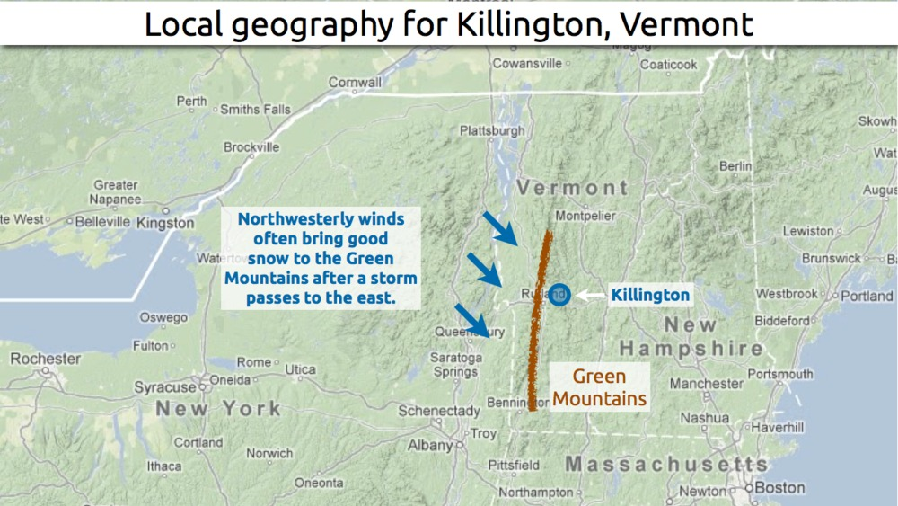 Learn how to predict snowfall totals in Killington. - © OpenSnow.com