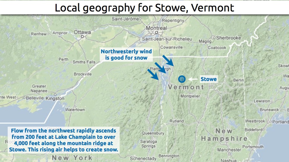 Learn how to predict snowfall totals at Stowe. - © OpenSnow.com