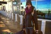 Meg at Denver International Airport, ready for her British Columbia catskiing trip. - © Kolby Ward