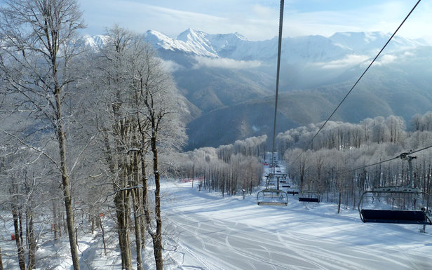 Rosa Khutor groomed intermediate runs.