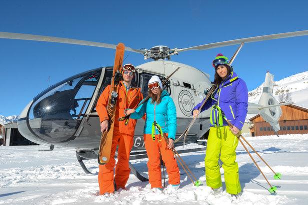 Accès direct aux pistes de ski de l'Alpe d'Huez en hélicoptère...