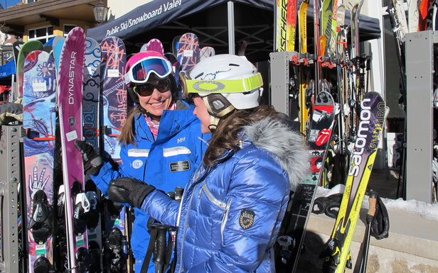 Picking out the first pair of women's skis for the day during She Skis, 2014.