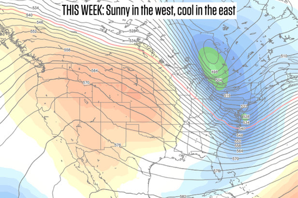 A ridge of high pressure will build over the west and a trough of low pressure will settle over the east.