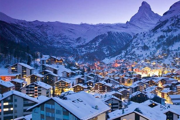 Snow-clad Zermatt with the Matterhorn in the background  - © Zermatt Tourist Office