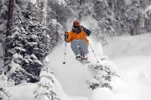Skiër in de poedersneeuw in Telluride, Colorado