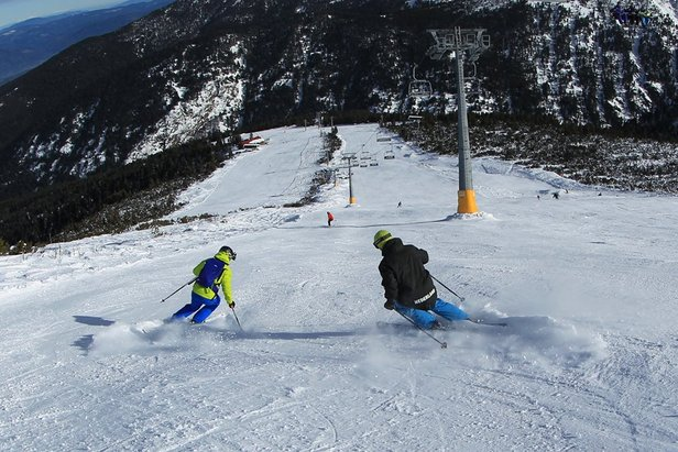 First skiers at Bansko, Buglaria Dec, 2014
