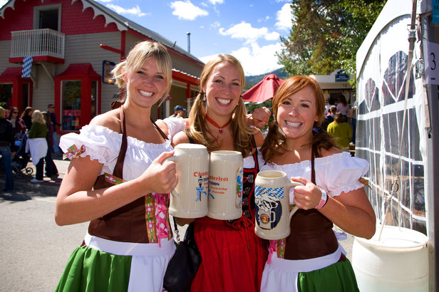 Oktoberfest girls and their steins in Breckenridge. Image by Jeff Scroggins.