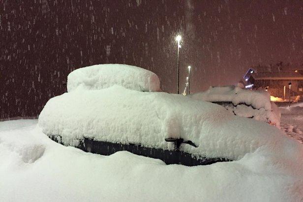 Livigno pod snehom, večer 9.2.2016