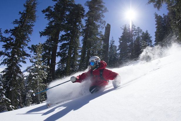 A skier sinks into powder at Kirkwood in Lake Tahoe.