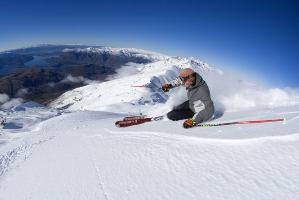 Skiing powder atop Treble Cone, NZ.