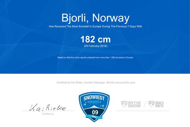 Najviac zasnežené stredisko 9. týždňa je nórske Björli  - © Skiinfo