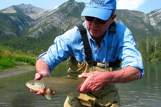 The Upper Bow River is known in angling circles for having an abundance of brown trout.   - © Banff Fishing Guides