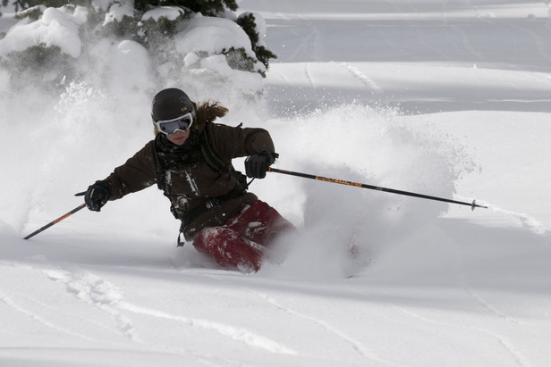 Skier Molly Baker at Snowbird, UT. Photo by Salt Lake CVB/ReWikstrom.