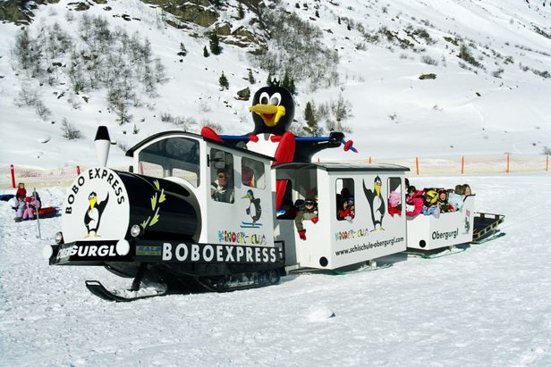 Kids riding the Boboexpress at Obergurgl, Austria.  - © Obergurgl Ski School