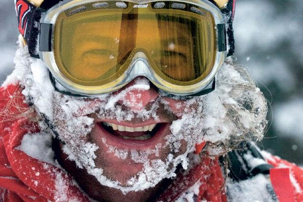 Gesicht voll Schnee