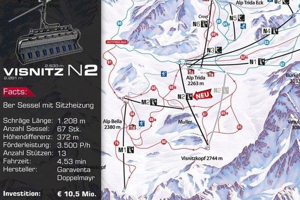 Nová Visnitzbahn na mape strediska  - © Silvretta Arena AG