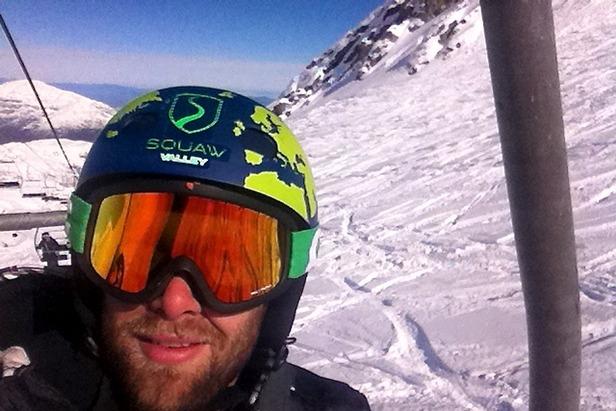 Travis riding the lift for another run at La Parva Ski Resort