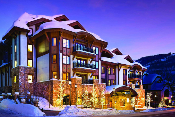Snow covers the exterior of The Sebastian Vail