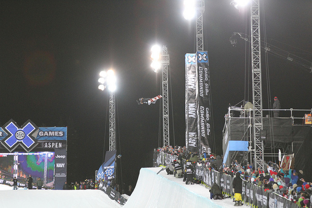 Shaun White gets high in his first run in the SuperPipe.