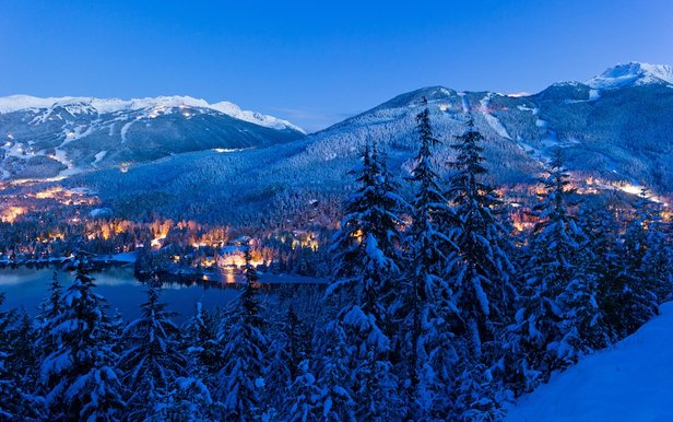 Whistler Blackcomb night view of mountains and valley.