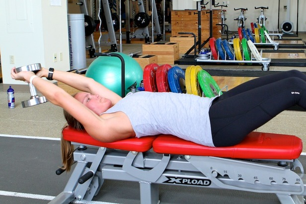 Ski Exercises: Dumbbell Lat Pullover With Hip Flexion- ©OnTheSnow.com