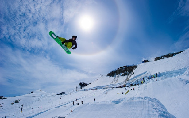 Snowboarding in summer on Horstman Glacier on Blackcomb Mountain. - ©Mike Crane/Tourism Whistler.