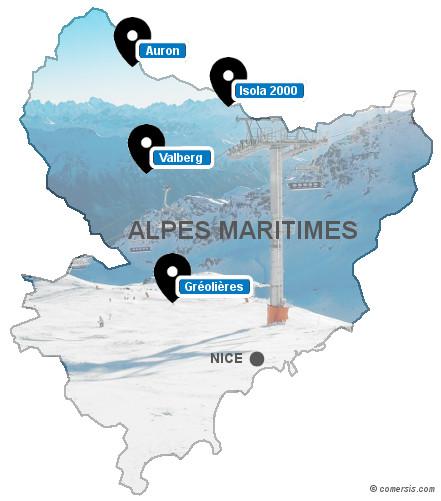 Carte des stations de ski des Alpes Maritimes (06)