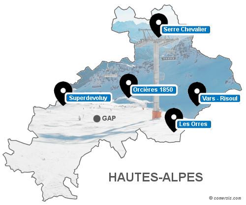 Carte des stations de ski des Hautes-Alpes (05)