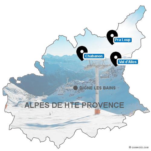 Carte des stations de ski des Alpes de Haute Provence (04)