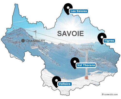 Carte des stations de ski de Savoie (73)