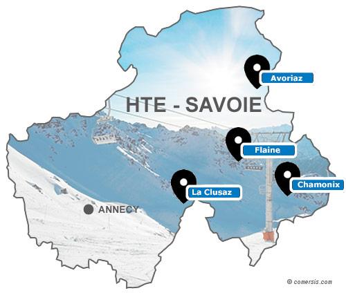 Carte des stations de ski de Haute Savoie (74)