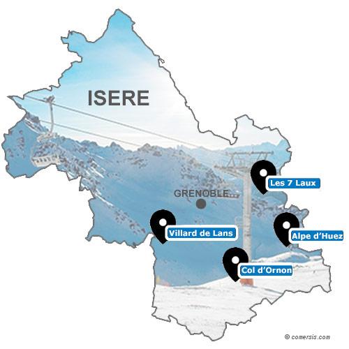 Carte des stations de ski de l'isère