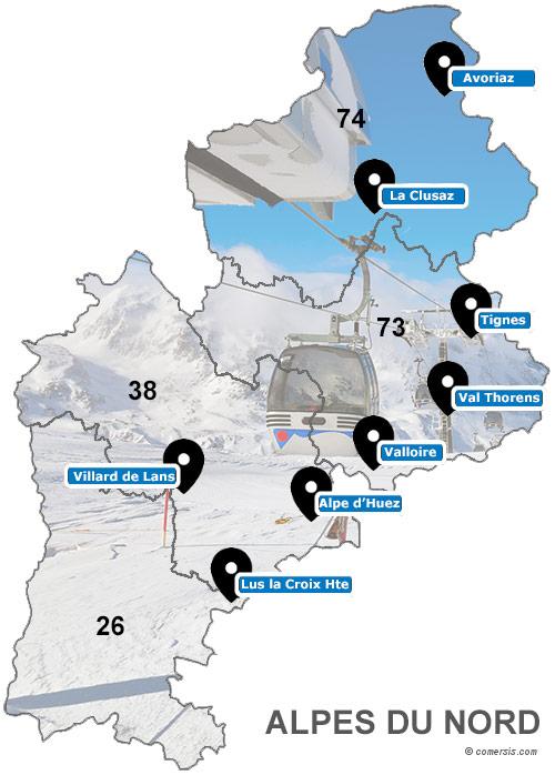 Carte des stations de ski des Alpes du Nord