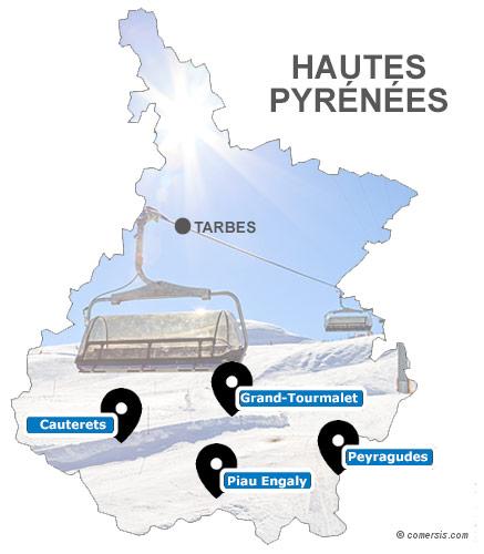 Carte des stations de ski des Hautes-Pyrénées (65)