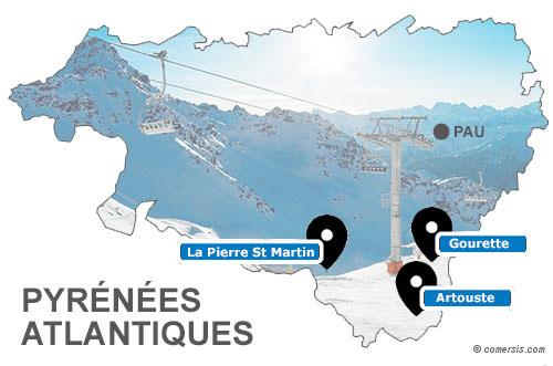 Carte des stations de ski des Pyrénées Atlantiques (64)